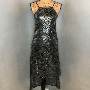 BCBG Black & Silver Sequin High-Low Dress Size XS